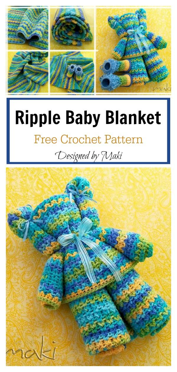 Ripple Baby Blanket Free Crochet Pattern