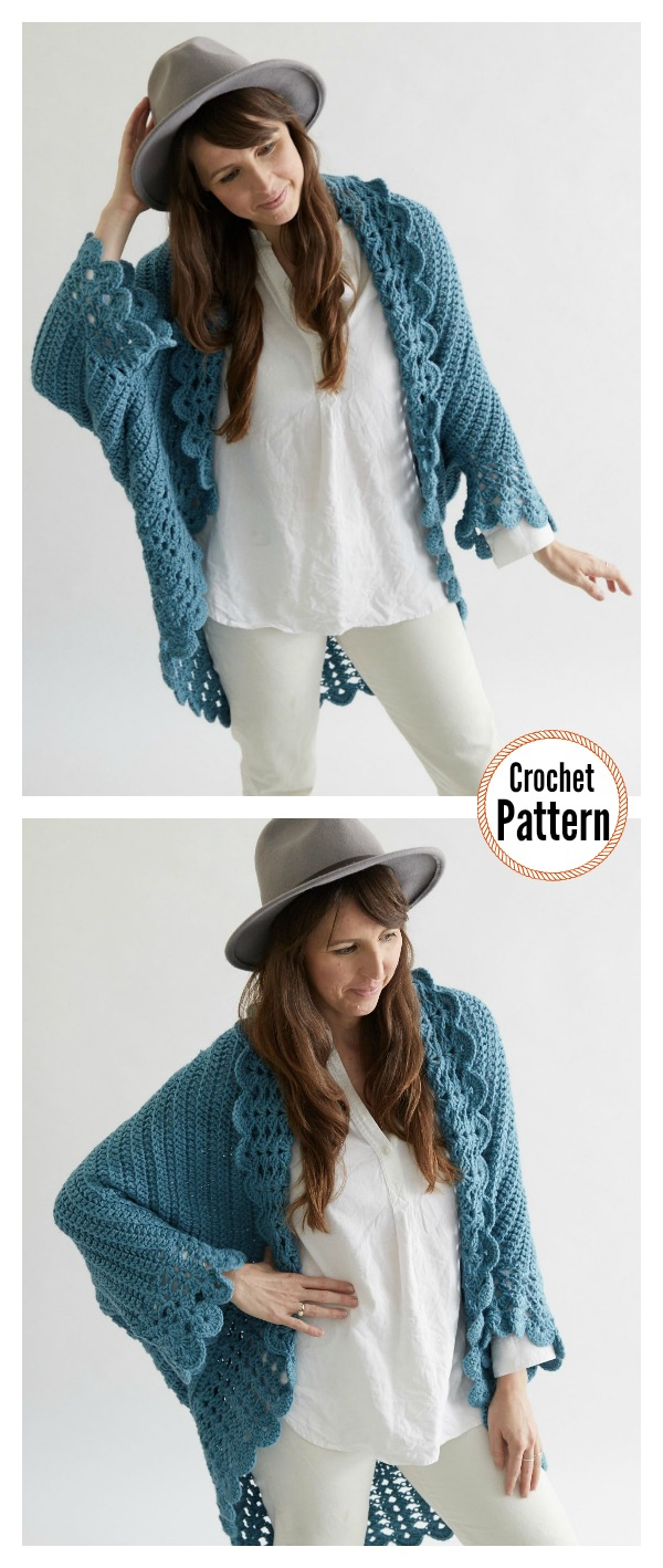 Shell Edged Blanket Sweater Crochet Pattern