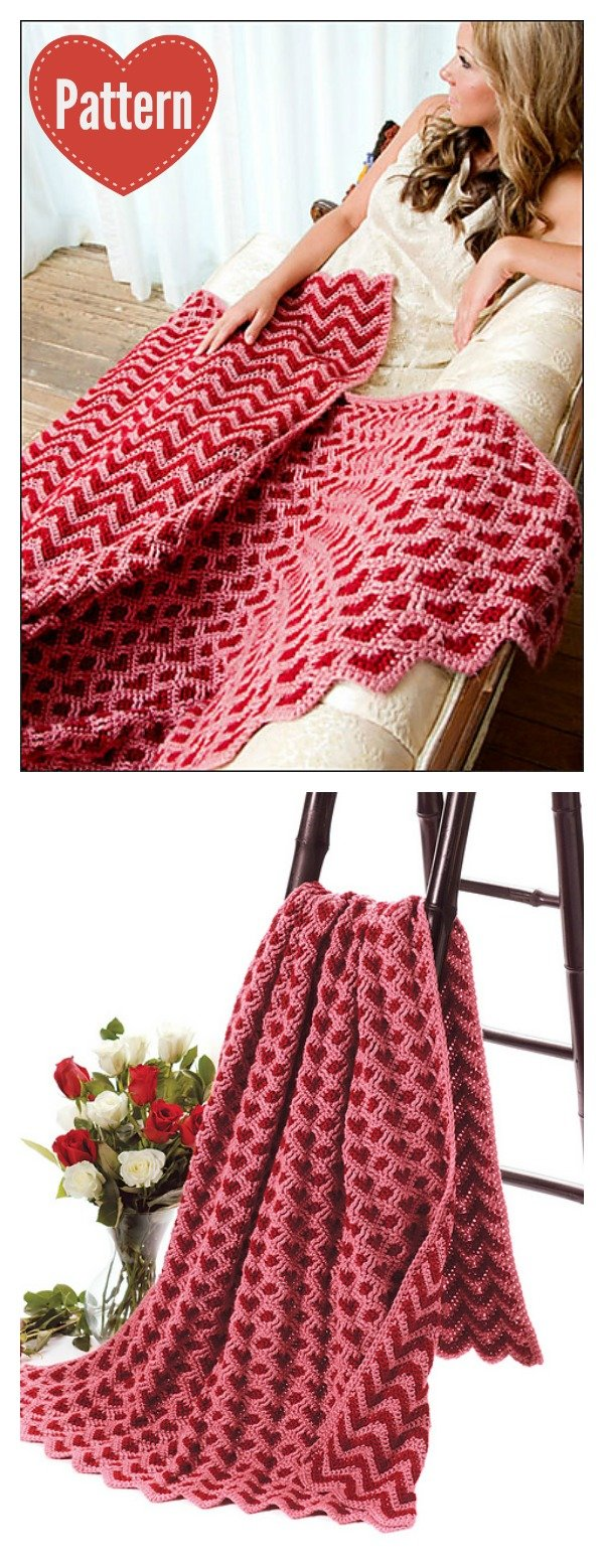 Sweetheart Ripple Afghan Blanket Crochet Pattern