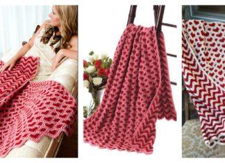 Sweetheart Ripple Afghan Blanket Crochet Pattern