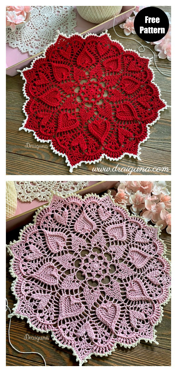 Sweetheart Soiree Hearts Around Doily Free Crochet Pattern
