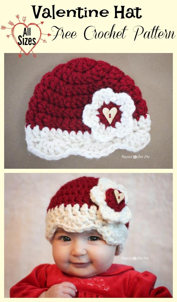 Valentine Hat Free Crochet Pattern (All Sizes)