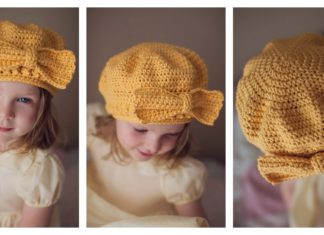 Beret Hat With Bow Free Crochet Pattern