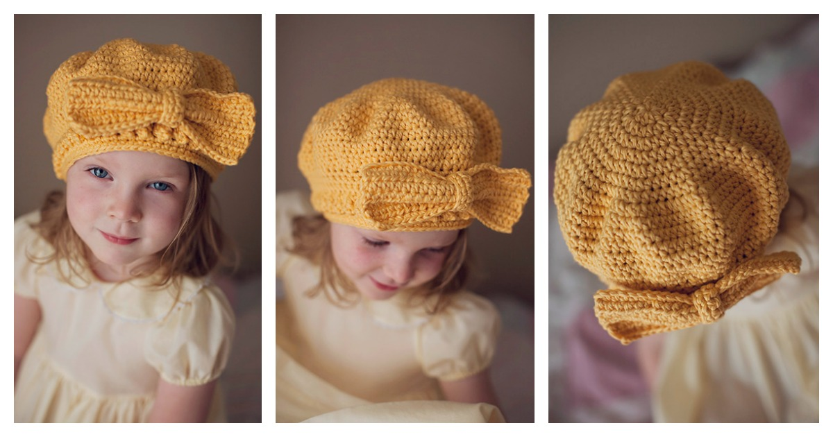 Beret Hat Free Crochet Pattern With Bow