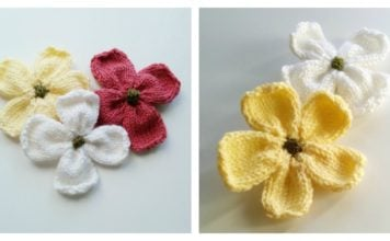 Dogwood Blossoms Free Knitting Pattern and Video Tutorial