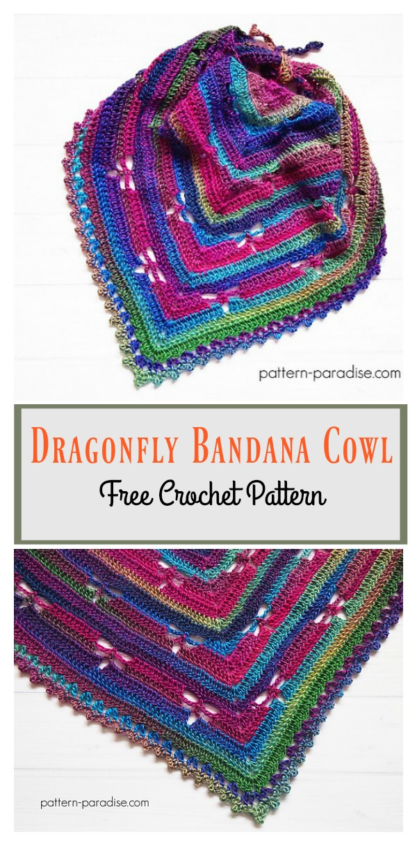 Dragonfly Bandana Cowl Free Crochet Pattern Cool Creativities