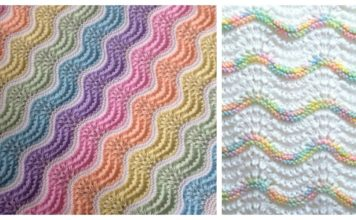 Feather and Fan Rainbow Baby Blanket Free Knitting Pattern