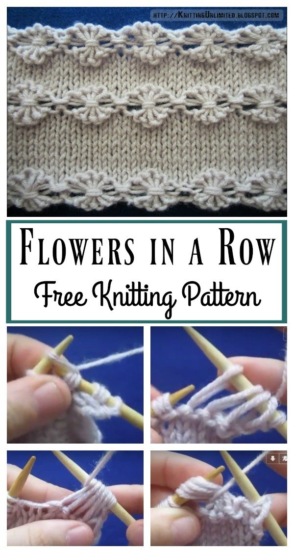 Flowers in a Row Free Knitting Pattern and Video Tutorial