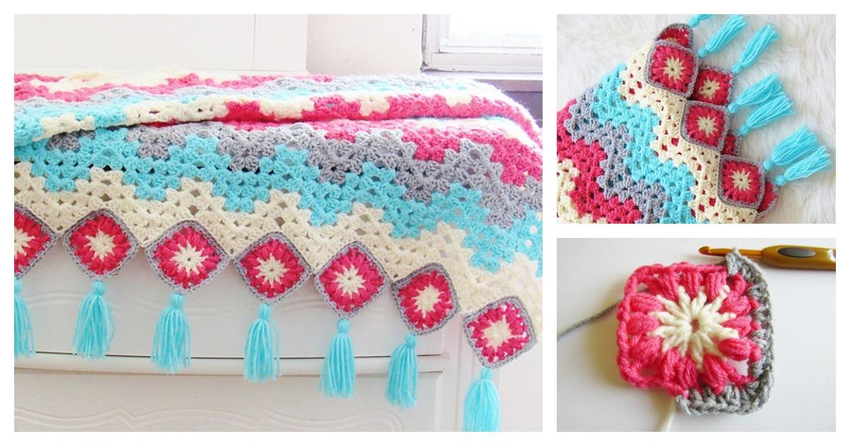 Granny Ripple Afghan Blanket Free Crochet Pattern