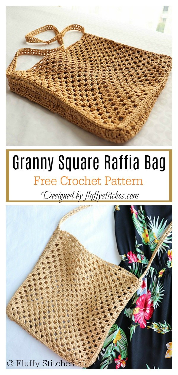 Granny Square Raffia Bag Free Crochet Pattern