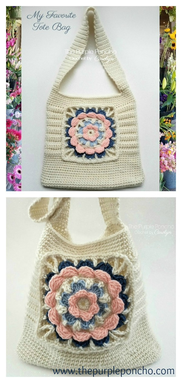Granny Square Tote Bag Free Crochet Pattern