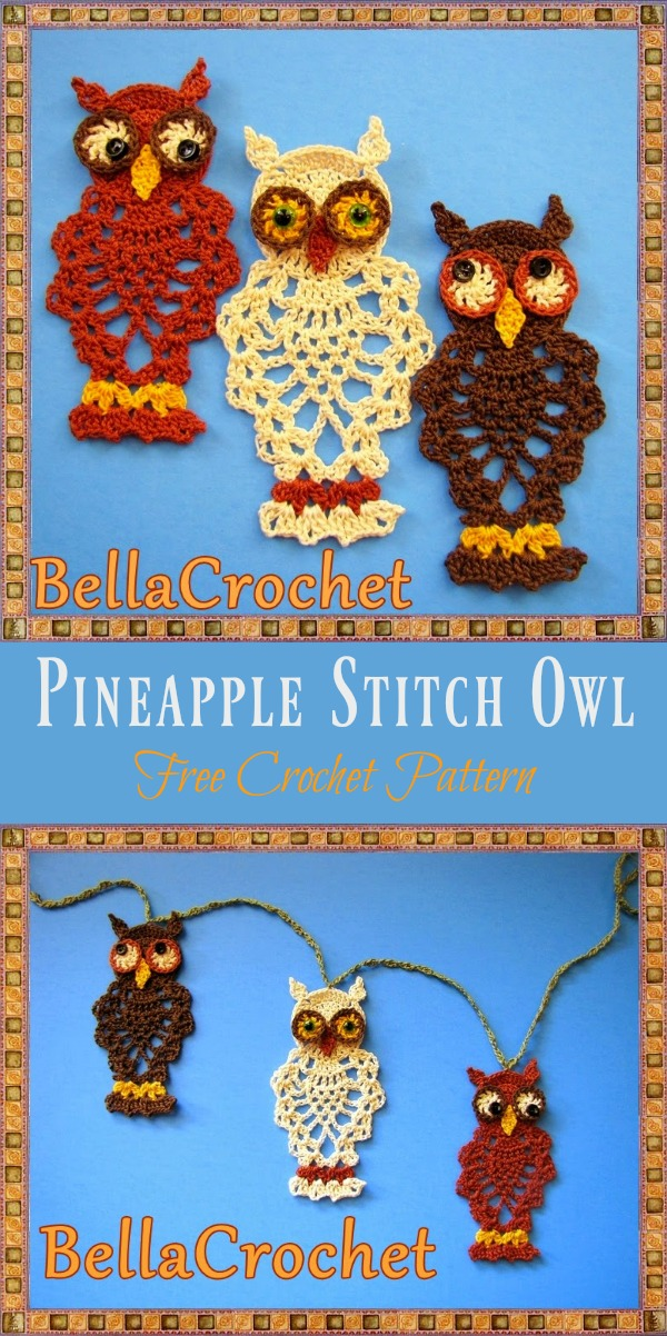 Pineapple Stitch Owl Free Crochet Pattern