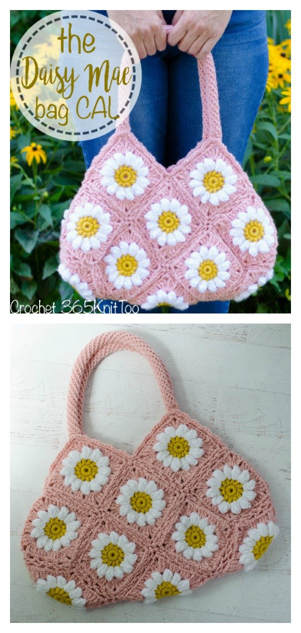 Puff Daisy Granny Square Bag Free Crochet Pattern