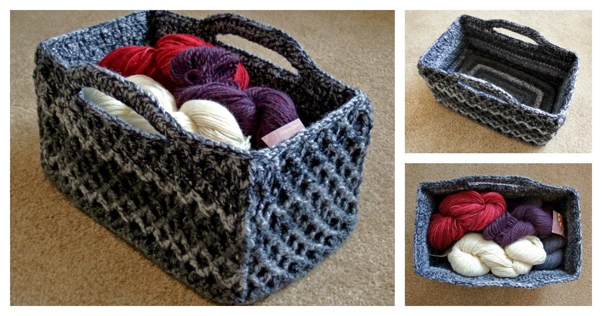 Rectangular Diamond Trellis Basket Free Crochet Pattern