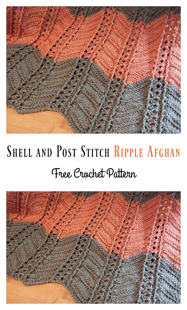 Shell And Post Stitch Ripple Afghan Free Crochet Pattern Cool