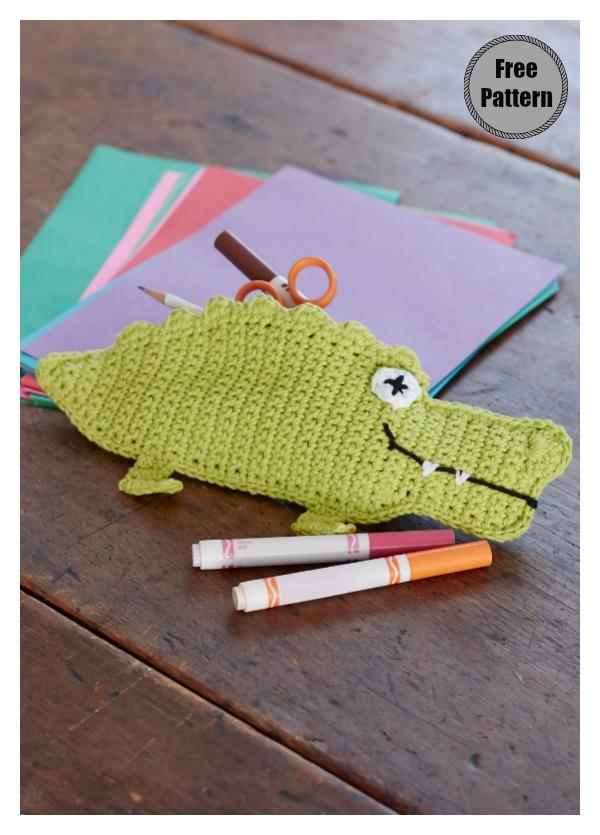 Alligator Pencil Case Free Crochet Pattern
