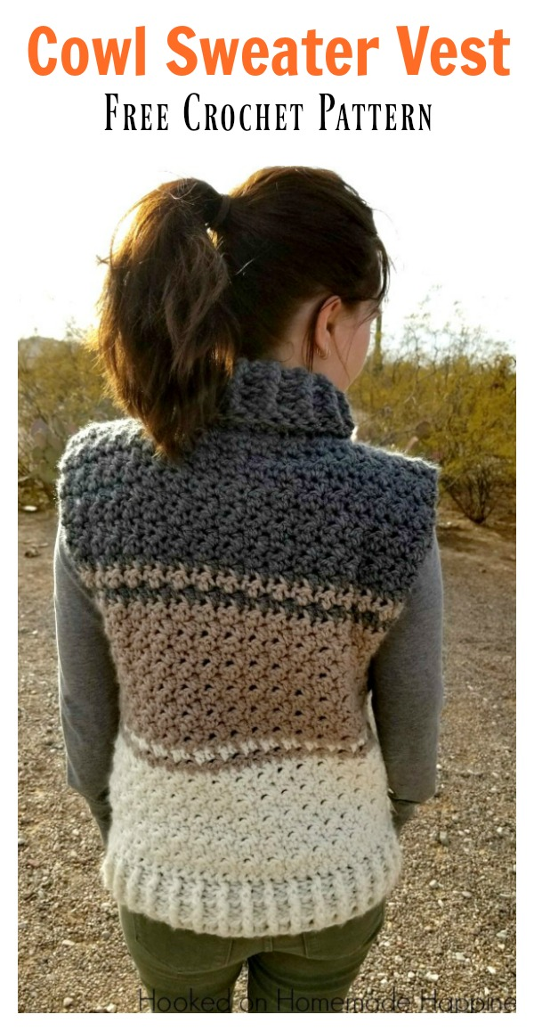 Cowl Sweater Vest Free Crochet Pattern