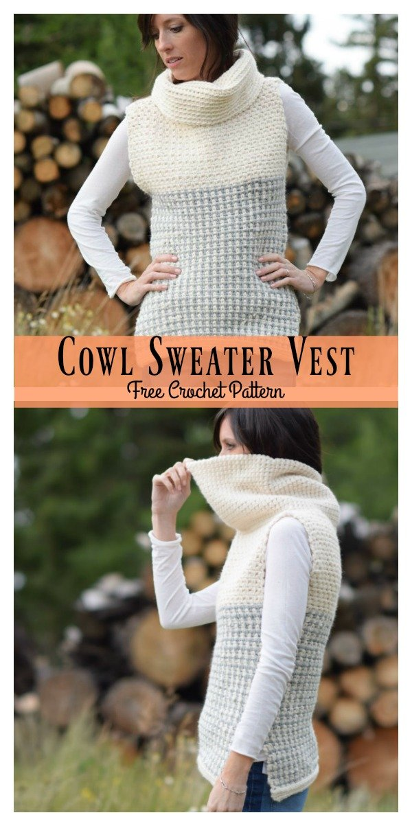 Cowl Sweater Vest Free Crochet Pattern Cool Creativities