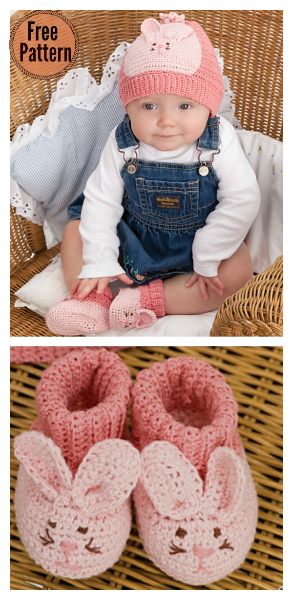 Cute Bunny Baby Hat Booties Free Crochet Pattern