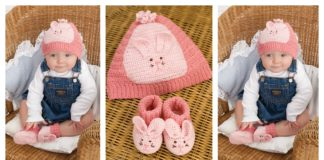 Cute Bunny Baby Hat and Booties Free Crochet Pattern