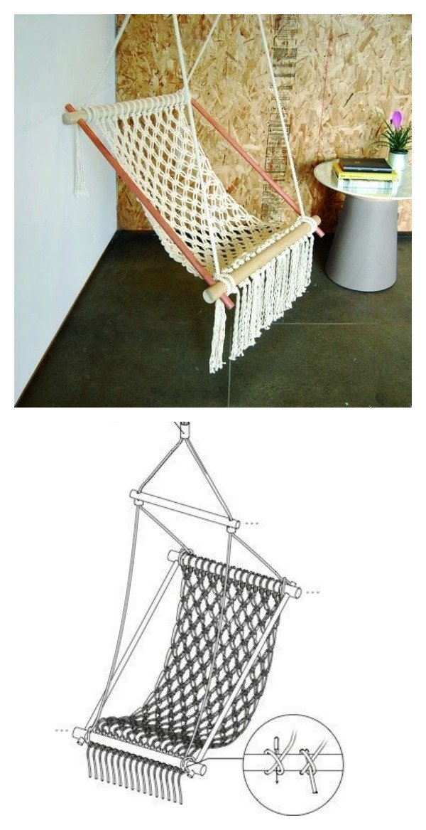diy macrame hanging chair diy hanging macrame chair 7099