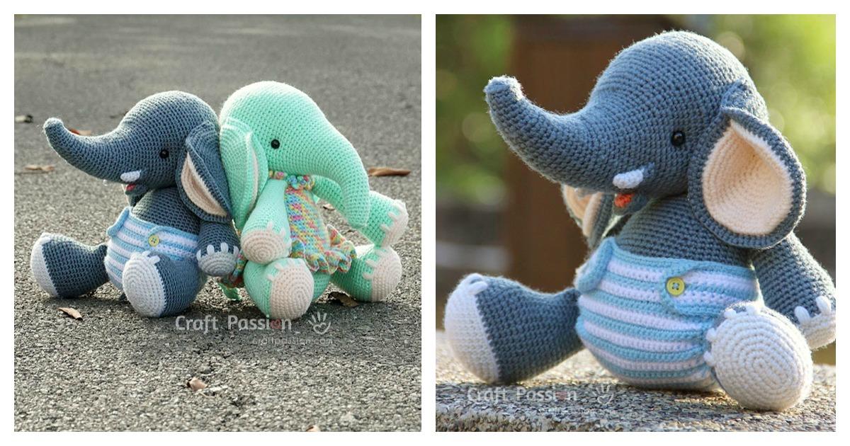 Amigurumi Elephant Bookmark Crochet Pattern | Supergurumi | 630x1200