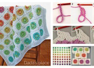 Floral Motif Afghan Baby Blanket Free Crochet Pattern