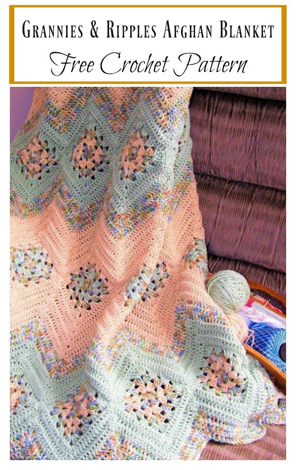 Grannies And Ripples Afghan Blanket Free Crochet Pattern