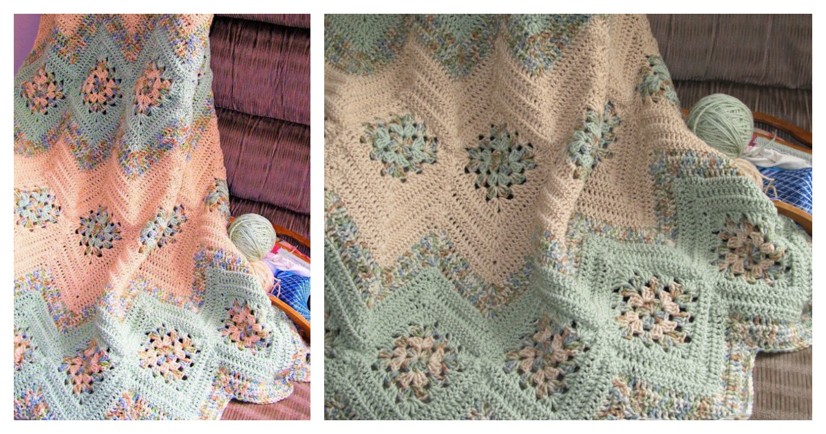 Grannies And Ripples Afghan Blanket Free Crochet Pattern