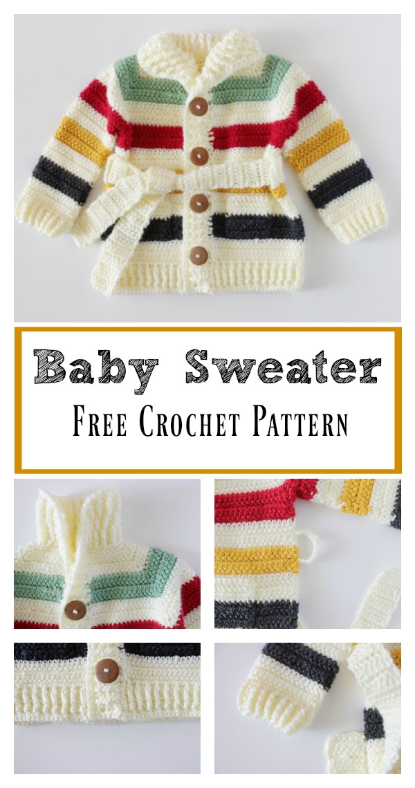 Hudson's Bay Baby Sweater Free Crochet Pattern