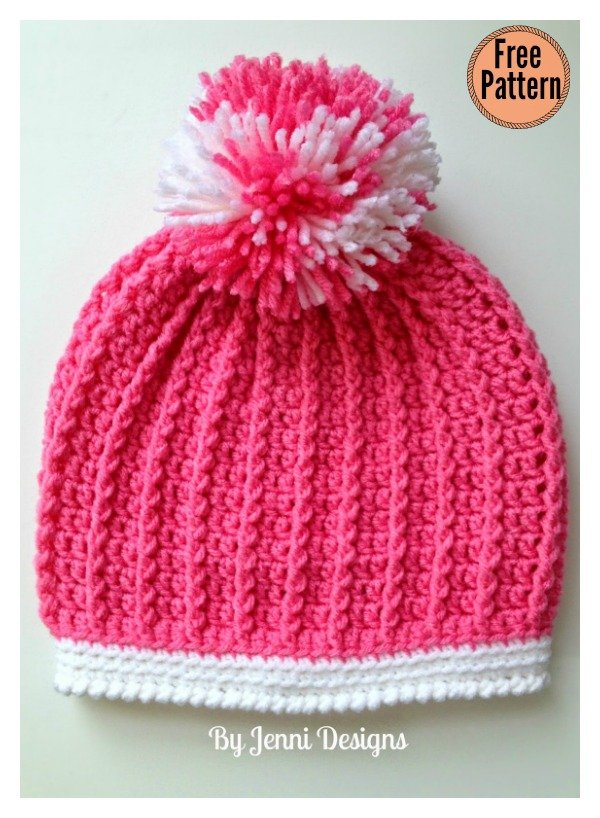 Ribbed Kids Hat Free Crochet Pattern