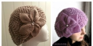Slouchy Lace Hat with Flower Free Knitting Pattern