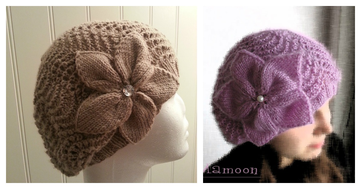 Slouchy Lace Hat Flower Free Knitting Pattern