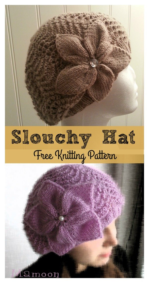 Slouchy Lace Hat With Flower Free Knitting Pattern Cool Creativities