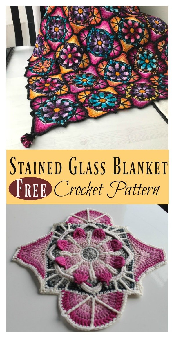 Stained Glass Flowers Afghan Blanket Free Crochet Pattern