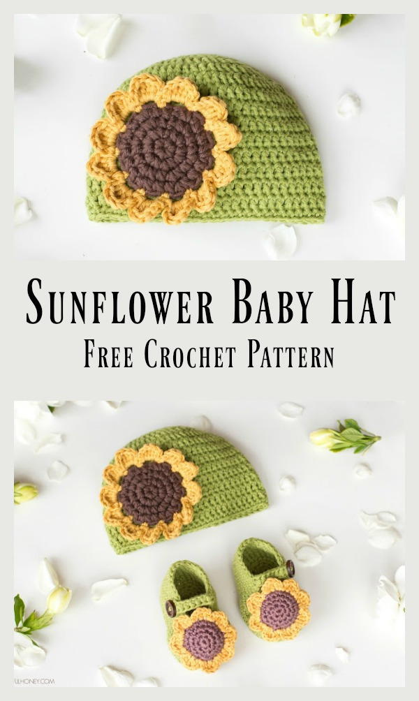 Sunflower Baby Beanie Hat Free Crochet Pattern