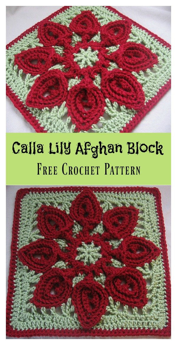 Calla Lily Flower Afghan Block Free Crochet Pattern Cool Creativities