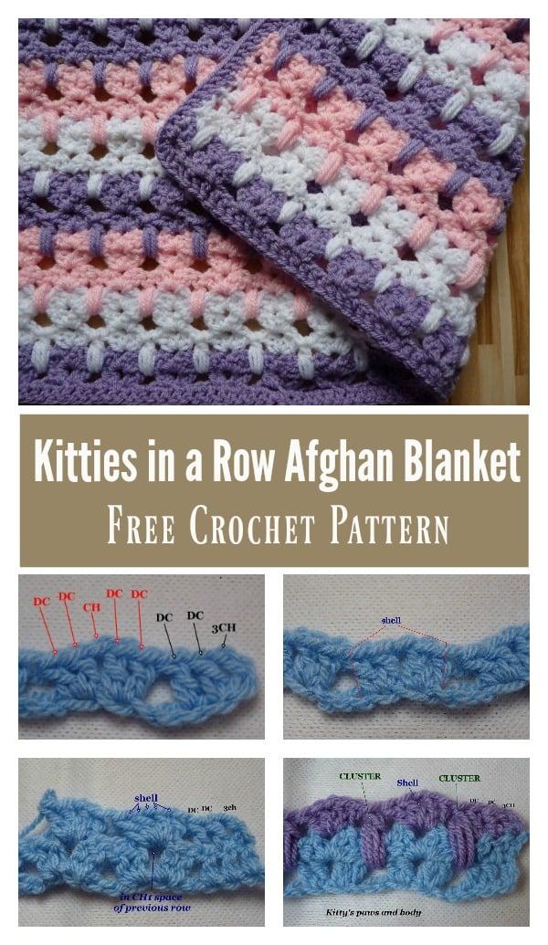 Cutest Kitties in a Row Afghan Blanket Free Crochet Pattern
