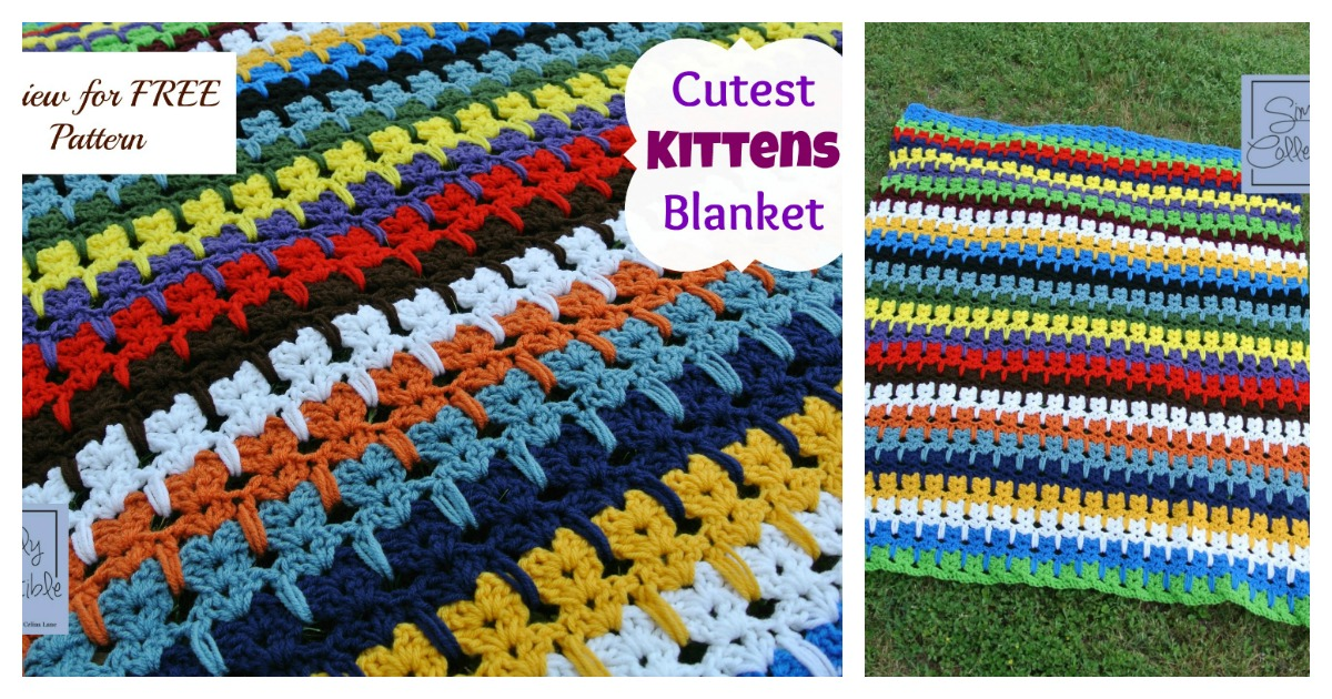 Cutest Kitties In A Row Afghan Blanket Free Crochet Pattern