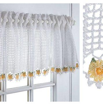 Flower Valance Window Curtain Free Crochet Pattern