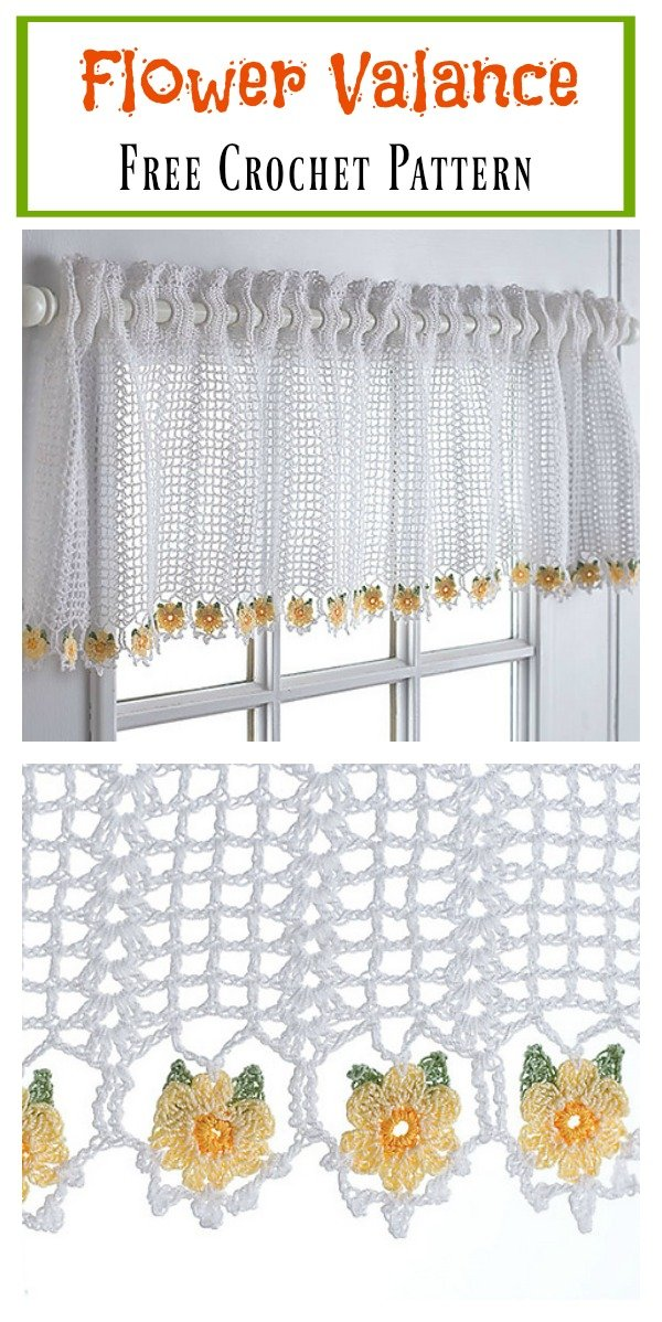 Flower Valance Window Curtain Free Crochet Pattern