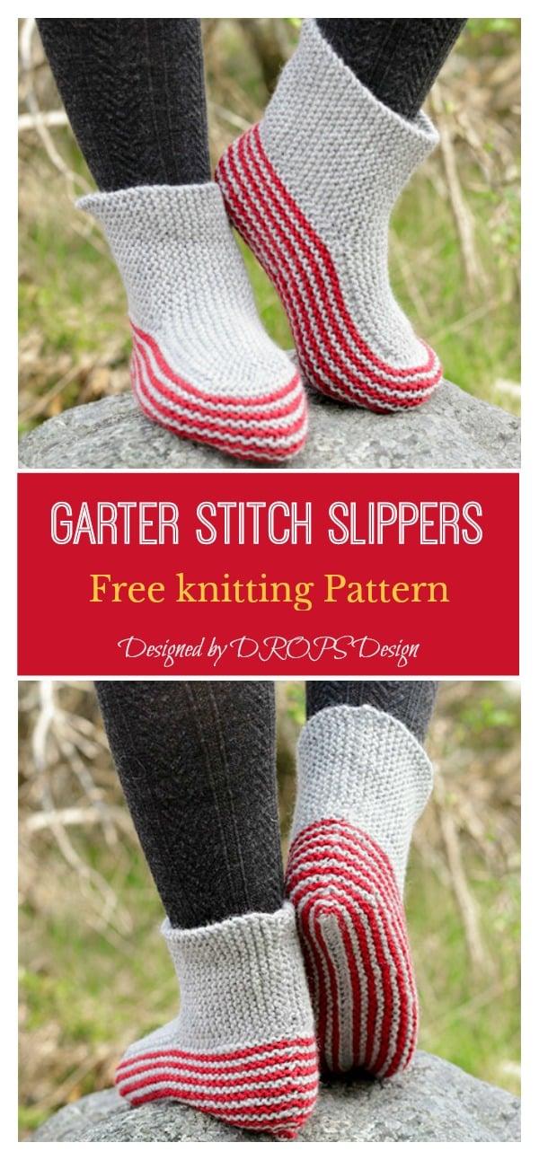 Garter Stitch Slippers Free knitting Pattern