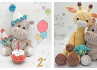 Hippo and Giraffe Amigurumi Free Crochet Pattern