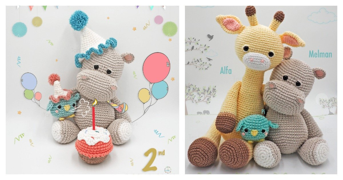 Crochet Hippo Trio Amigurumi Free Patterns - DIY Magazine | 630x1200