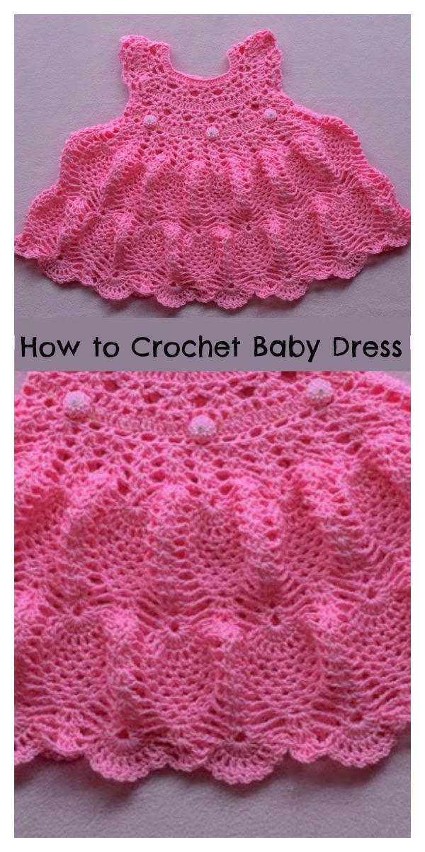 Pineapple Stitch Baby Dress Free Crochet Pattern