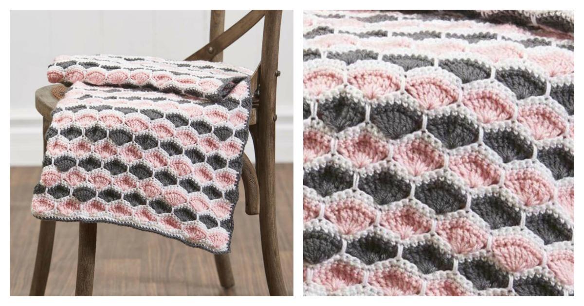 Encantador Patrones Afganos Shell Crochet Imagen - Manta de Tejer ...