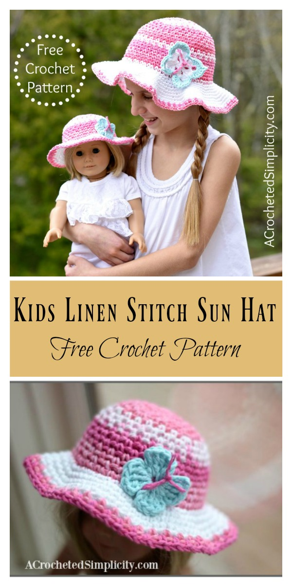 Kids Linen Stitch Sun Hat Free Crochet Pattern