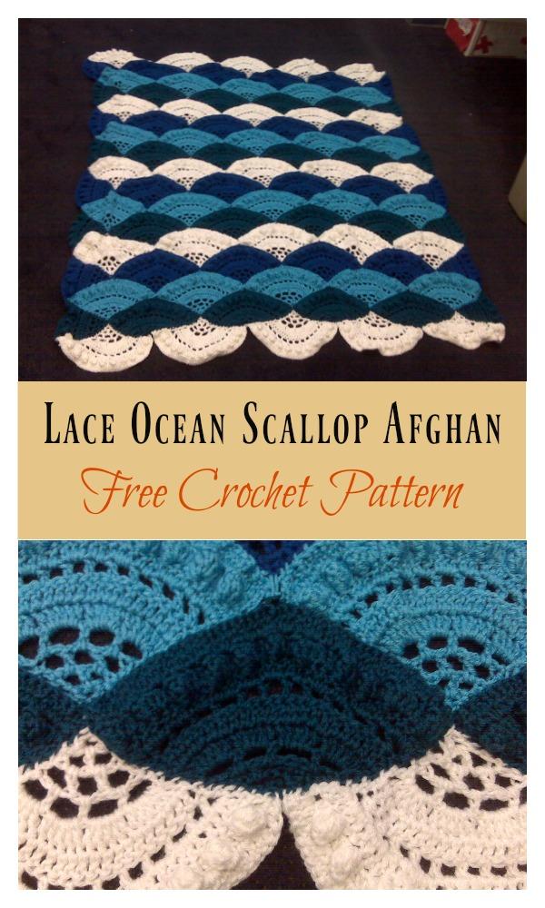 Lace Ocean Scallop Afghan Free Crochet Pattern