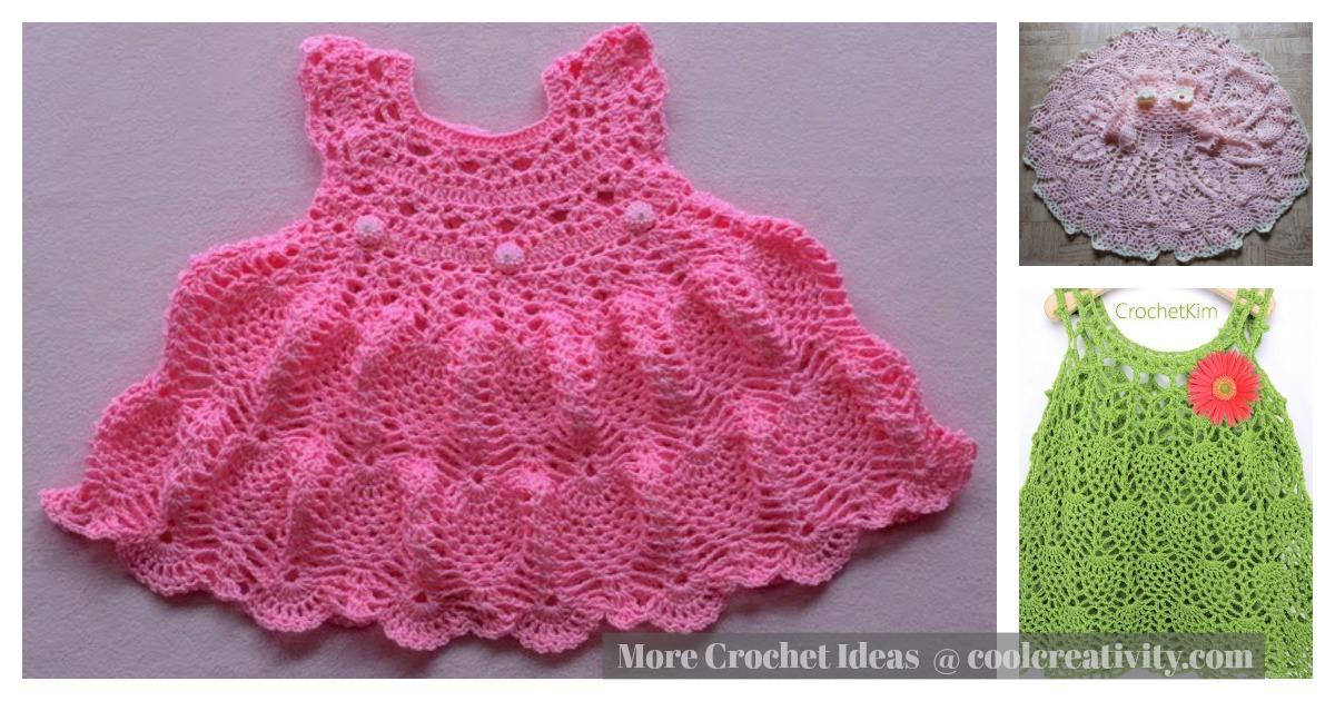 Pineapple Stitch Baby Dress Free Crochet Pattern