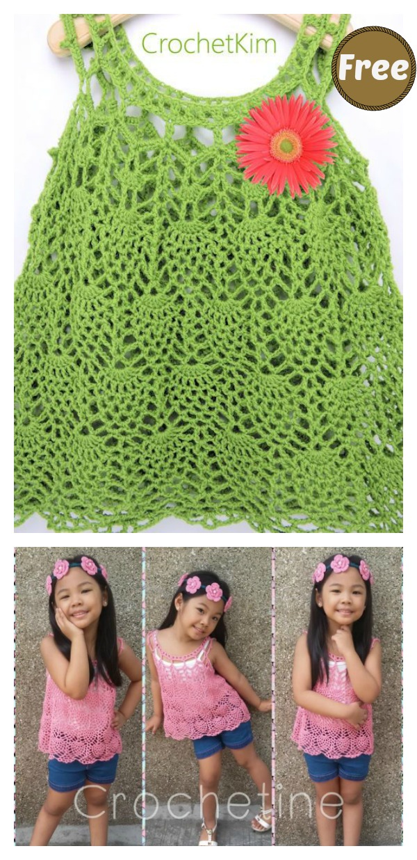 Pineapple Stitch Cascade Baby Dress Free Crochet Pattern